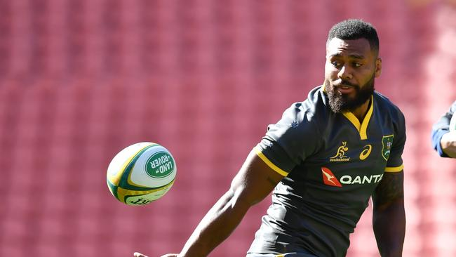 Samu Kerevi in action during the Wallabies captain's run at Suncorp Stadium.