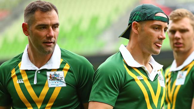 Cameron Smith and Cooper Cronk were all business at training on Thursday. Picture: Getty Images