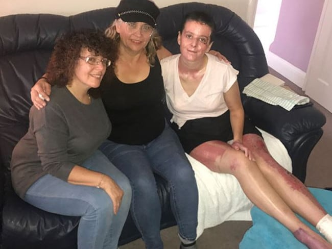 Zoe Eleftheriou (right), at home in Kent, with her mum Mary (left) and World Nomads Podcast host Kim Napier (centre).