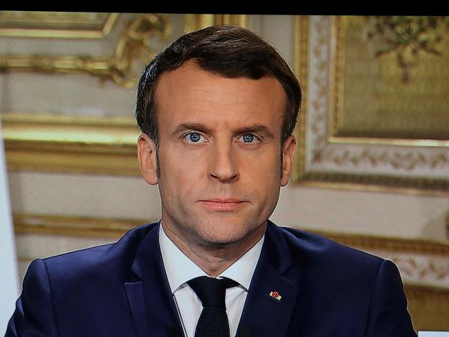 France's President Emmanuel Macron announcing drastic new measures to stop the spread of Covid-19. Picture: AFP