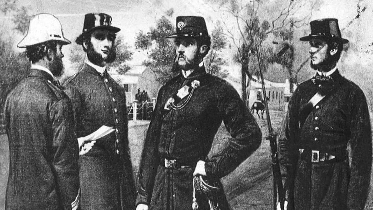 Melbourne policemen in the 1860s.
