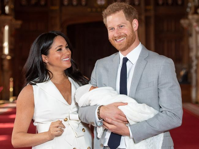 The royal couple were beaming as they showed off their little boy to the world. Picture: Dominic Lipinski