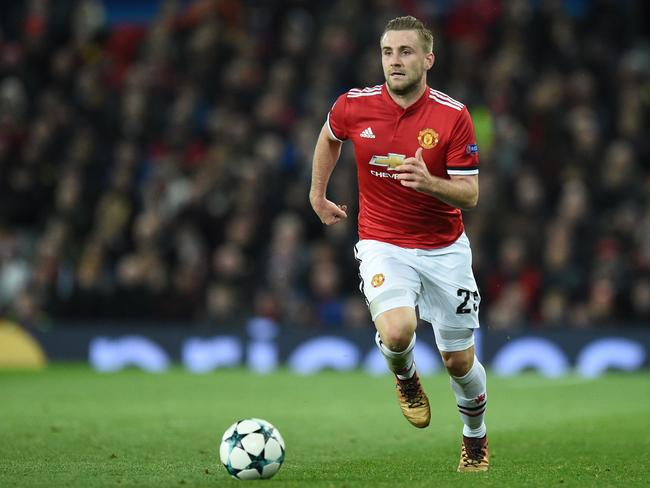 Manchester United's English defender Luke Shaw.