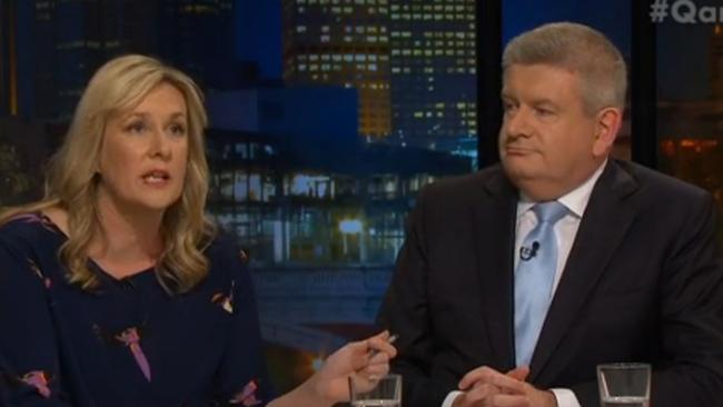 Comedian and writer, Corinne Grant and communications minister Mitch Fifield on ABC's Q & A.