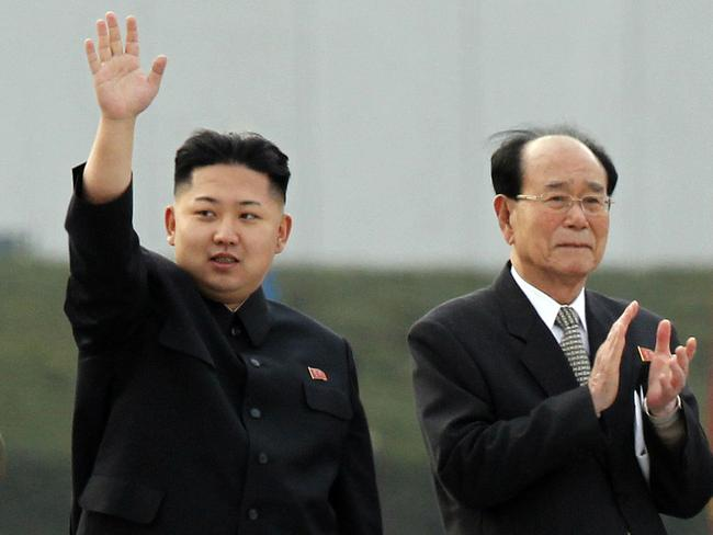 Kim Jong-un, left, accompanied by President of the Presidium of the Supreme People's Assembly Kim Yong Nam in Pyongyang, North Korea. Picture: AP