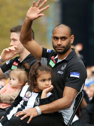 Collingwood's Travis Varcoe in the AFL Grand Final Parade. Picture: Mark Stewart