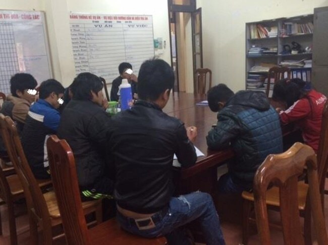 Earlier this month, Blue Dragon stopped the trafficking to China of 33 children and young adults, some of whom are seen here writing statements for the police. Picture: Blue Dragon