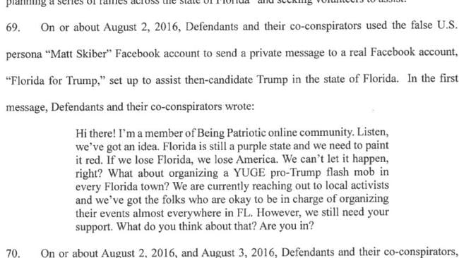 One way the Russian organisation tried to win votes for Donald Trump in the battleground state of Florida.