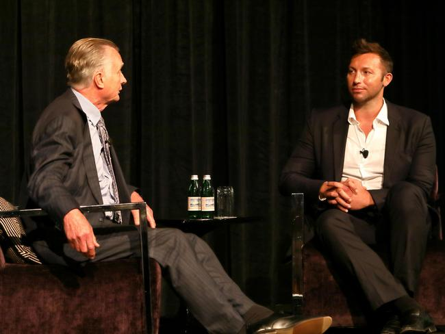 Ian Thorpe being interviewed about mental health issues by Jeff McMullen at Procore Technologies lunch, held in conjunction with Mates in Construction.