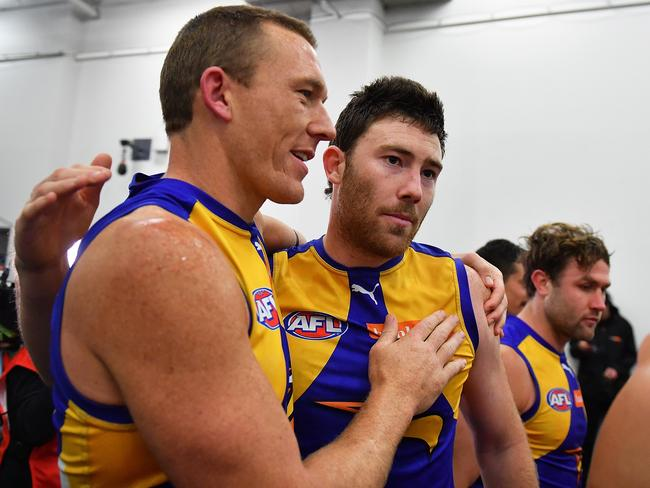Drew Petrie and Jeremy McGovern in the rooms. (Photo by Daniel Kalisz/Getty Images)