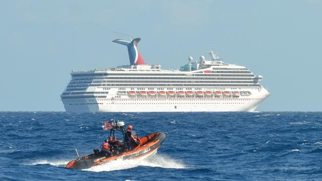The Carnival Triumph was left floating aimlessly after a fire in the engine room in February 2013. Picture: AP Photo/US Coast Guard - Lieutenant Commander Paul McConnell