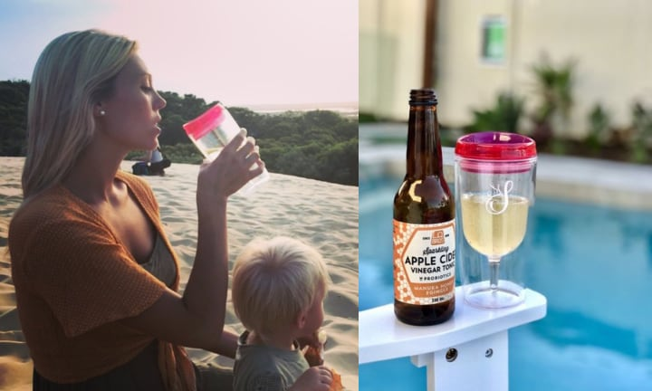 <b> Mummy's sippy cup </b> Enjoy a glass or two at a picnic? Now there's a way to do it with NO SPILLS.