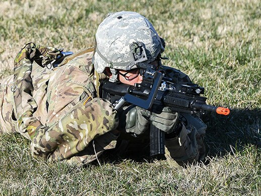 A US Army Laboratory image showing a soldier laying prone with his third arm still offering support for his weapon. Picture: US Army