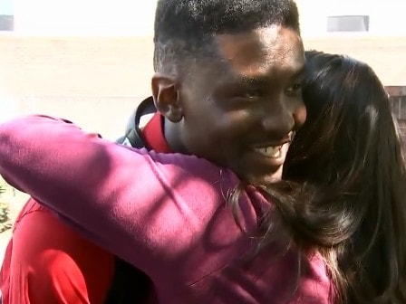 The pair shared a hug after Ms Cofield apologised for hurting Mr Childs. Picture: WSB-TV