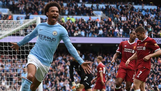 Manchester City's German midfielder Leroy Sane celebrates after scoring v Liverpool.