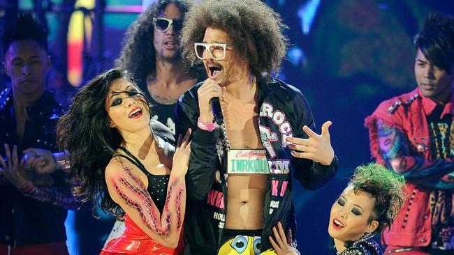 SkyBlu and Redfoo of LMFAO perform onstage at the 2011 American Music Awards.