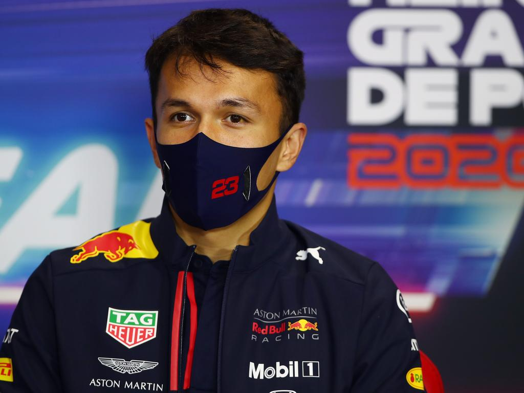 Red Bull's Thai driver Alex Albon attends the official press conference ahead of the Portuguese Formula One Grand Prix at the Algarve international circuit in Portimao on October 22, 2020. (Photo by Joe Portlock / POOL / AFP)