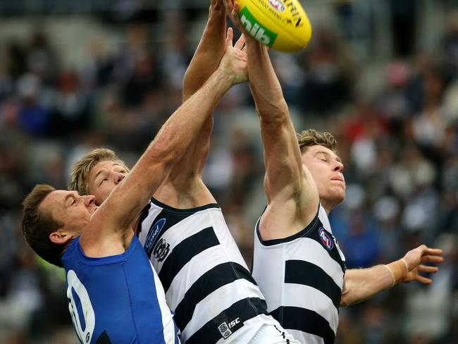Mark Blicavs (right) goes third-man up more than any other player. Picture: Colleen Petch