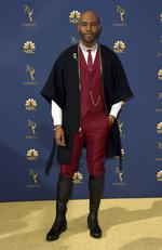 Karamo Brown arrives at the 70th Primetime Emmy Awards on Monday, Sept. 17, 2018, at the Microsoft Theater in Los Angeles. (Photo by Jordan Strauss/Invision/AP)
