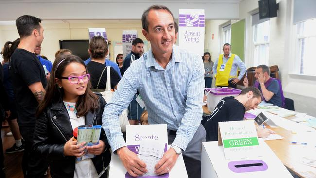 Liberal candidate for the Federal seat of Wentworth Dave Sharma at Paddington Public School on Election Day. Picture: Jeremy Piper