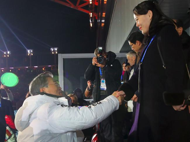 North Korean leader Kim Jong-un's sister Kim Yo Jong (right) shakes hands with South Korean President Moon Jae-in during the opening ceremony of the PyeongChang 2018 Winter Olympic Games in PyeongChang. Picture: AFP/YONHAP