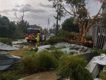 Twitter pictures of Storm damage after a Tornado passed through Kurnell. Picture: 9News