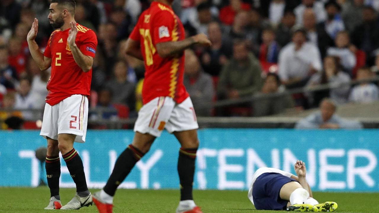 Shaw suffered a sickening clash with Dani Carvajal.
