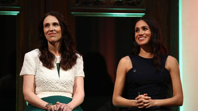 Jacinda Ardern and Meghan Markle in New Zealand last year. Picture: Phil Walter/AFP