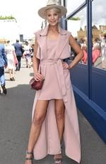 Kate Peck goes for a mullet style dress at the 2016 Melbourne Cup. Picture: AAP Image/Tracey Nearmy