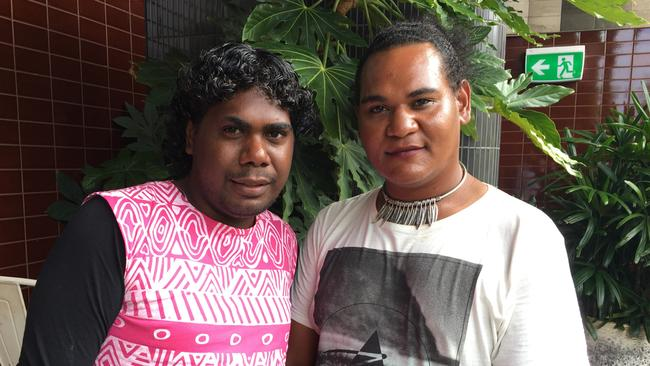 Tiwi Island sistagirls Shaun Kerinaiua (left) and Anastaius Vigona (right) in Sydney today.