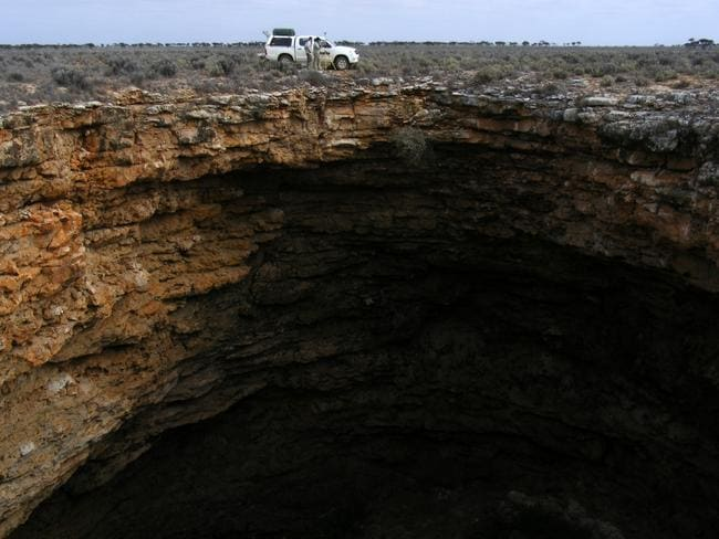 Surveying at the surface of Nullarbor site. Picture: Milo Barham