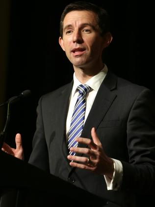 Cracking down ... Education Minister Simon Birmingham says taxpayer money should support families. Picture: Stuart McEvoy