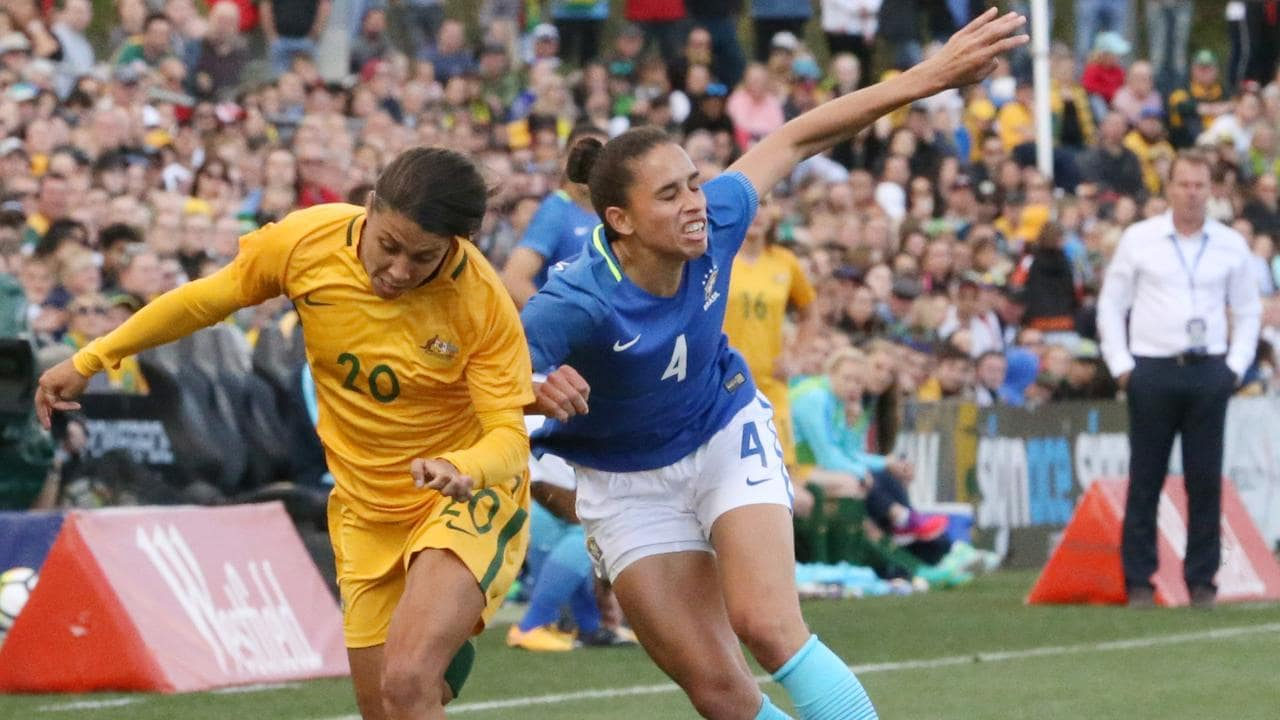 Sam Kerr and the Matildas take on Brazil again. (AAP IMAGE / Matt Sullivan)