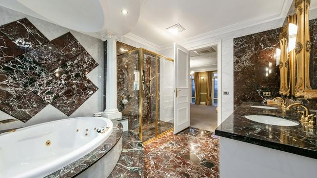 More than 800sq m of marble, granite and travertine were used in the build.