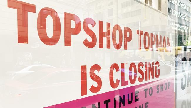 Topshop's Australian foray finally came to an end on Saturday at around 4pm when the lights were turned off. Picture: news.com.au/Benedict Brook.