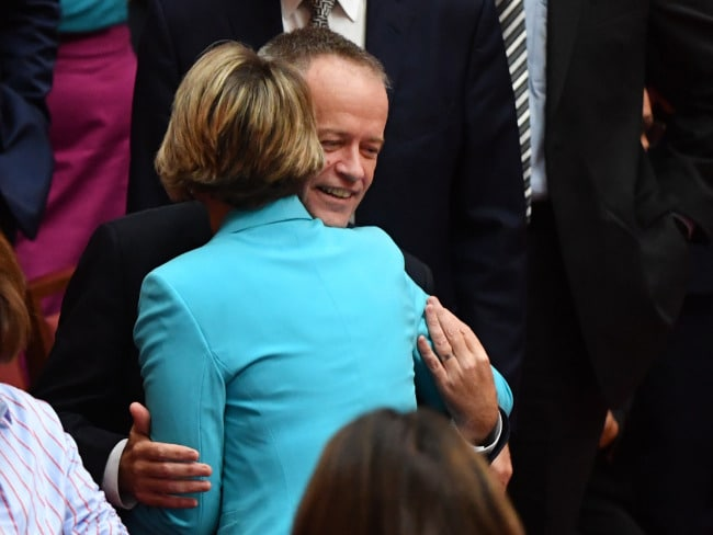 Labor Senator Kristina Keneally is congratulated by Leader of the Opposition Bill Shorten after making her maiden speech in the Senate chamber. Photo: AAP/Mick Tsikas