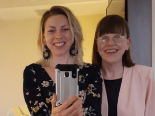 Katie Horneshaw with her mum. People with eating disorders are finding lockdown and panic buying difficult. Image: Supplied.
