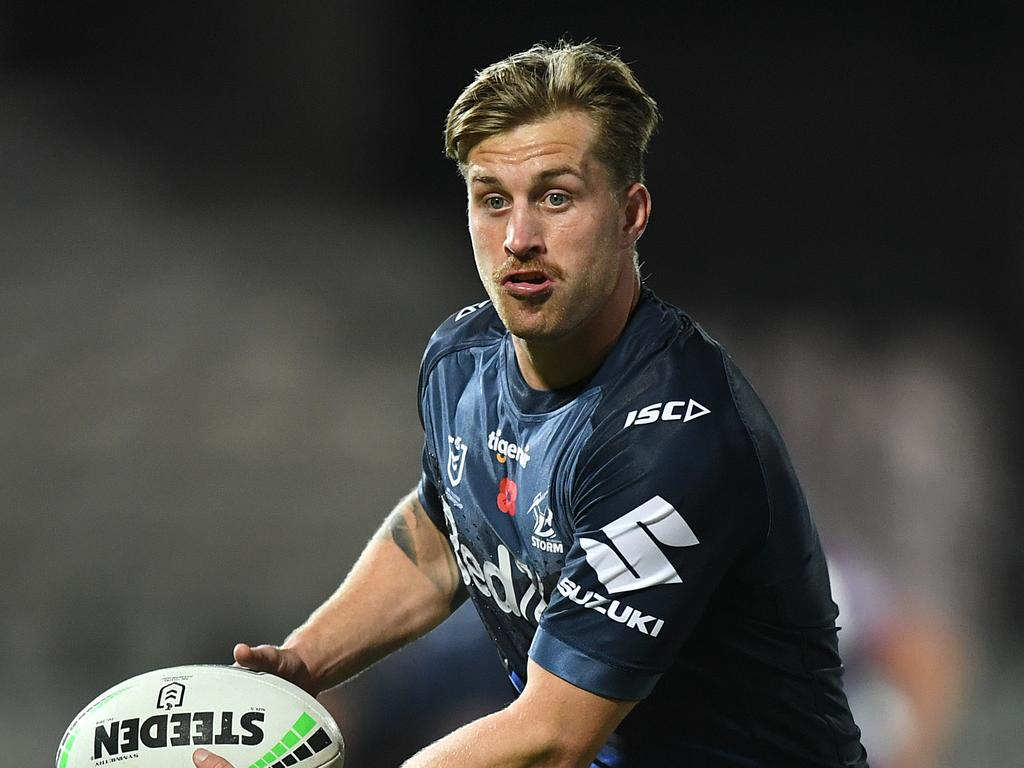 Cameron Munster of the Storm is seen during a warm up prior to the Round 7 NRL match between the Melbourne Storm and the New Zealand Warriors at Netsrata Jubilee Stadium in Sydney, Friday, June 26, 2020. (AAP Image/Joel Carrett) NO ARCHIVING, EDITORIAL USE ONLY