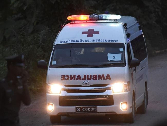 An ambulance exits from the Tham Luang cave area after another four boys were rescued. Picture: AFP