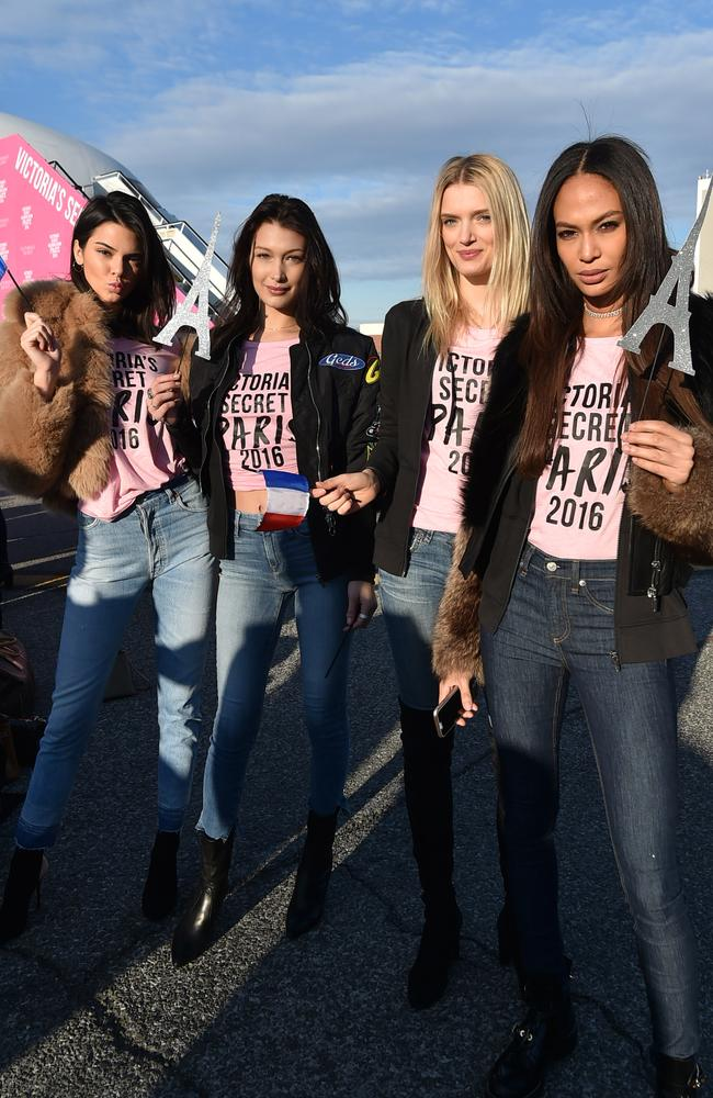 Supermodels Kendall Jenner, Bella Hadid, Lily Donaldson and Joan Smalls, pictured before they boarded a private plane to Paris. Picture: Mike Coppola/Getty Images for Victoria's Secret