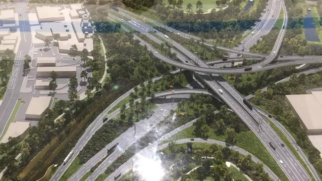 An artists impression of the WestConnex St Peters Interchange in inner west Sydney.