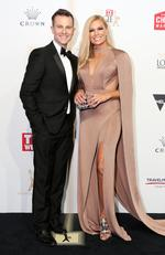 David Campbell and Sonia Kruger arrive on the red carpet at the 59th annual TV Week Logie Awards on April 23, 2017 at the Crown Casino in Melbourne, Australia. Picture: Julie Kiriacoudis
