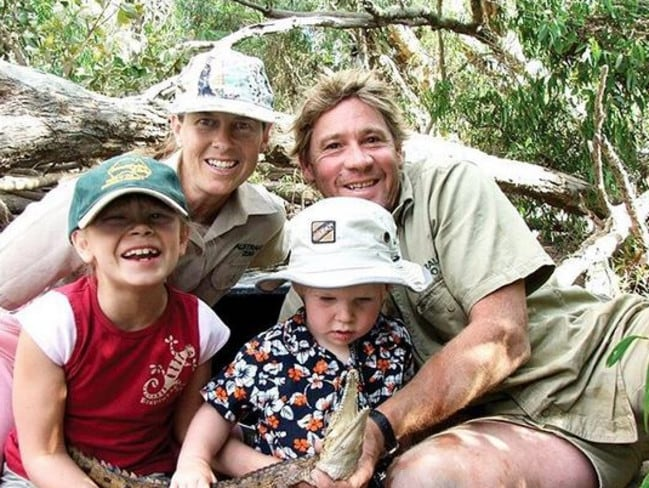 Terri Irwin with her late husband Steve, and kids Bindi and Robert. Picture: Instagram