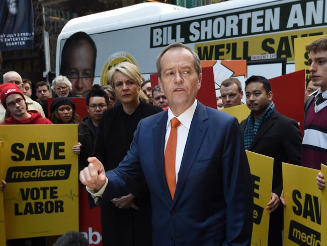 Opposition Leader Bill Shorten with the Labor faithful on the day before the election. Picture: AAP Image/Mick Tsikas