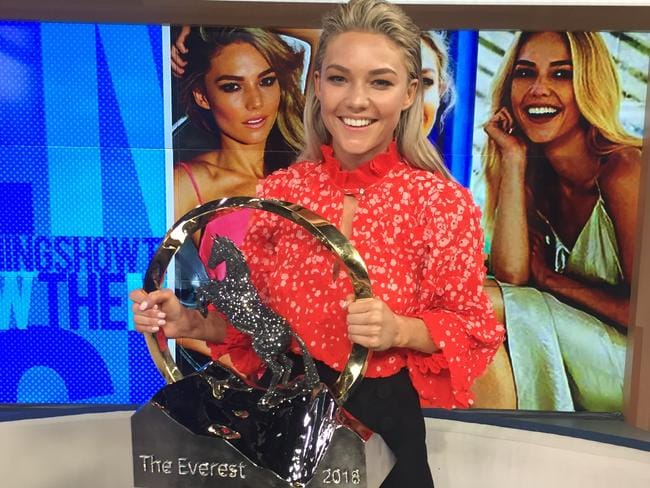 Sam Frost with the TAB Everest trophy.