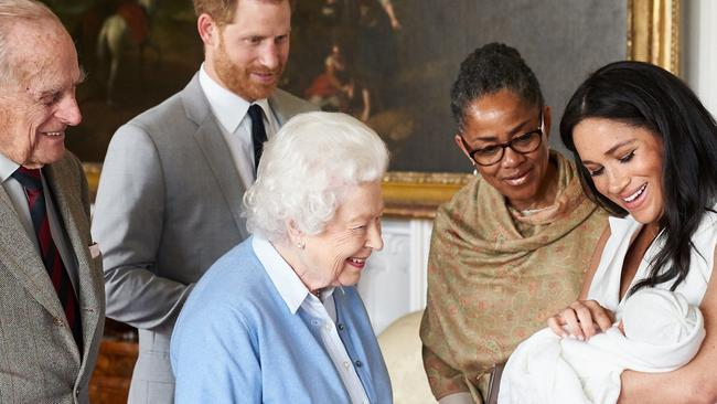 The new family will reportedly take Archie to see his grandma, pictured next to Meghan, in LA for Christmas. Picture: SussexRoyal via Getty Images.