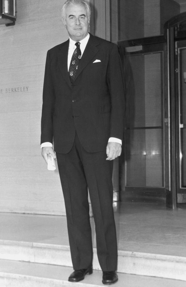 Towering political figure ... Gough Whitlam on his way to meet Queen Elizabeth at Buckingham Palace.