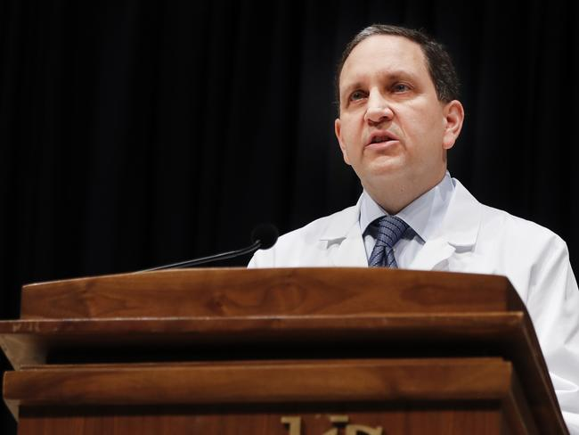 Daniel Kanter, medical director of the Neuroscience Intensive Care Unit at the University of Cincinnati Medical Center talks to reporters about Otto Warmbier's condition last week. Picture: AP Photo/John Minchillo