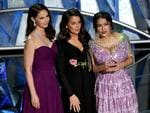 Ashley Judd, Annabella Sciorra and Salma Hayek speak onstage during the 90th Annual Academy Awards on March 4, 2018 in Hollywood, California. Picture: Getty