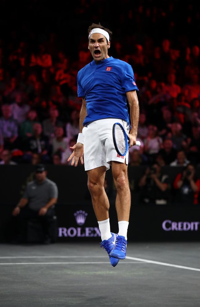 As excited as if he won Wimbledon. (Photo by Julian Finney/Getty Images for Laver Cup)